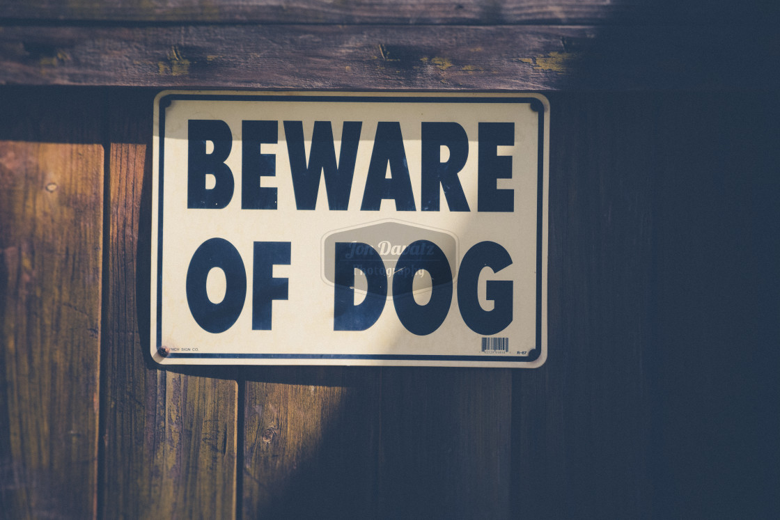 """Beware of Dog"" stock image"