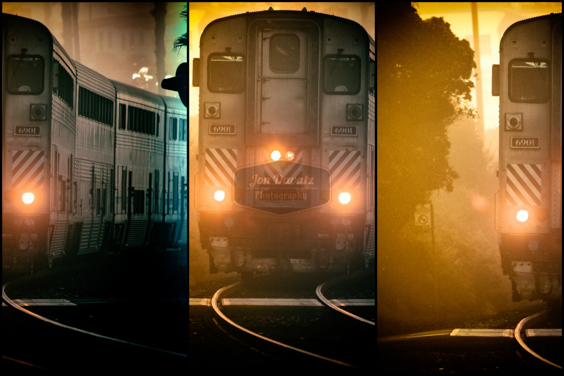 """Amtrak - Surfliner - Triptych"" stock image"