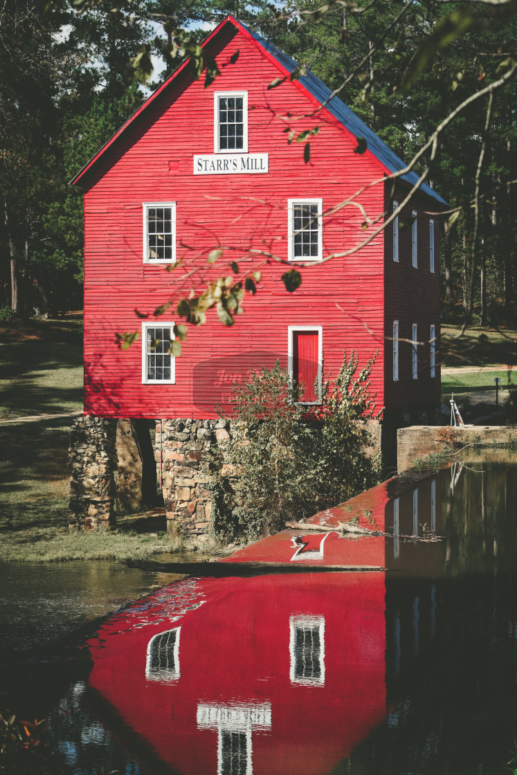 """""""Starr's Mill reflection"""" stock image"""