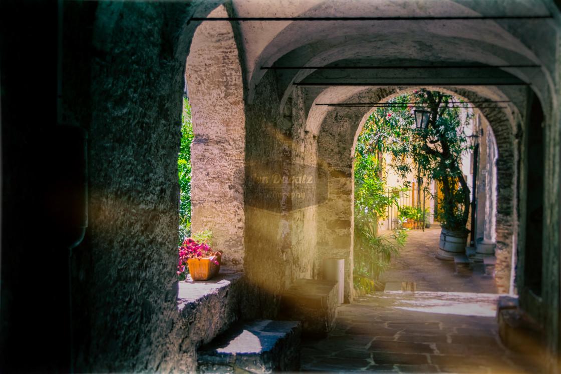 """Sentiero di Gandria - sunrays"" stock image"