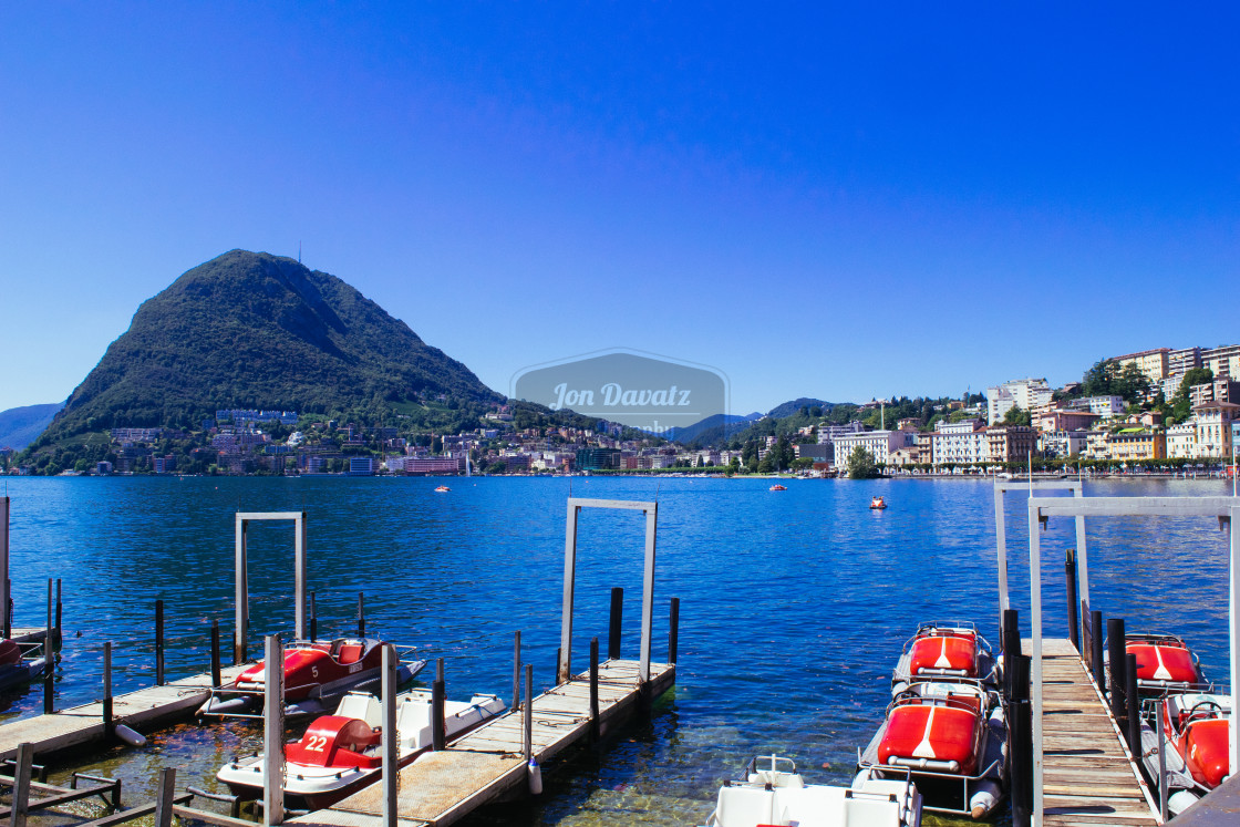 """Lugano Lake with San Salvatore"" stock image"