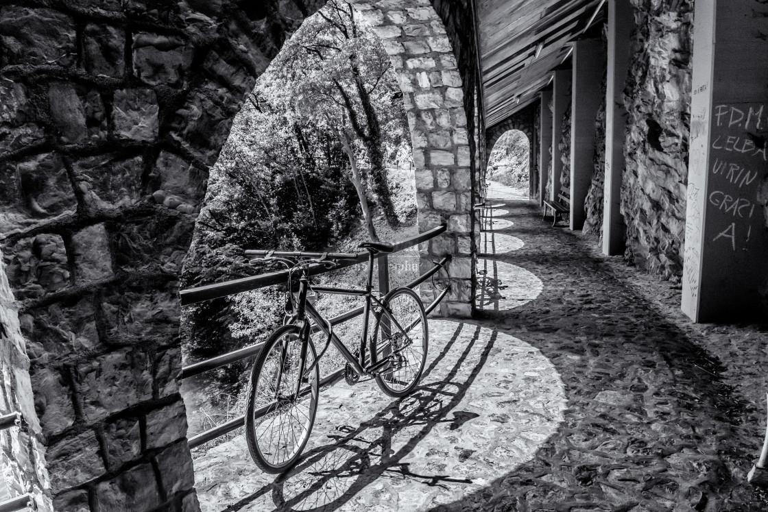 """""""Sentiero di Gandria and a bike"""" stock image"""