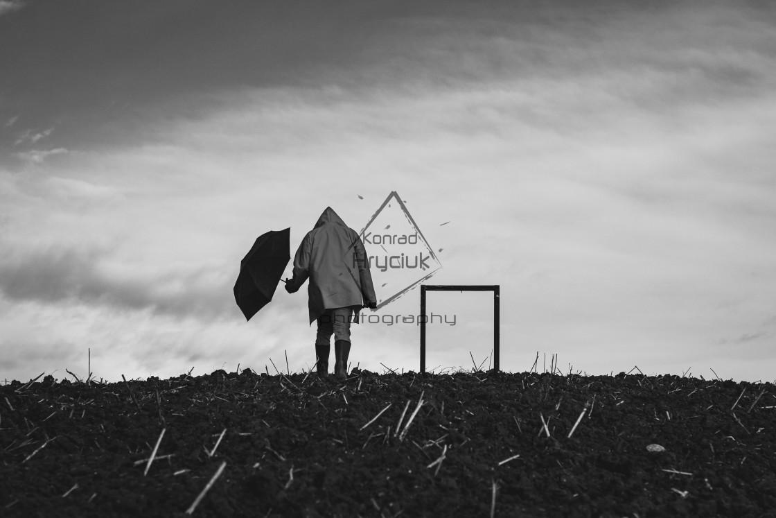 """""""locus solus - frame and umbrella b&w"""" stock image"""