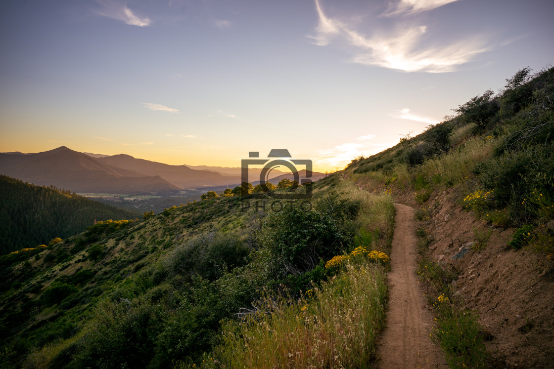 """Southern Oregon Sunset Trail"" stock image"