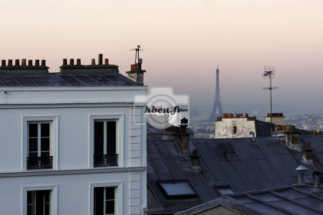 """Eiffel tower and roofs of Paris"" stock image"