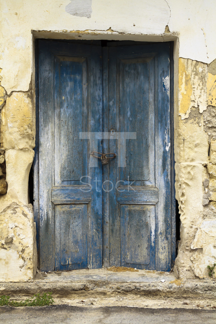 """Old ruin blue doors"" stock image"