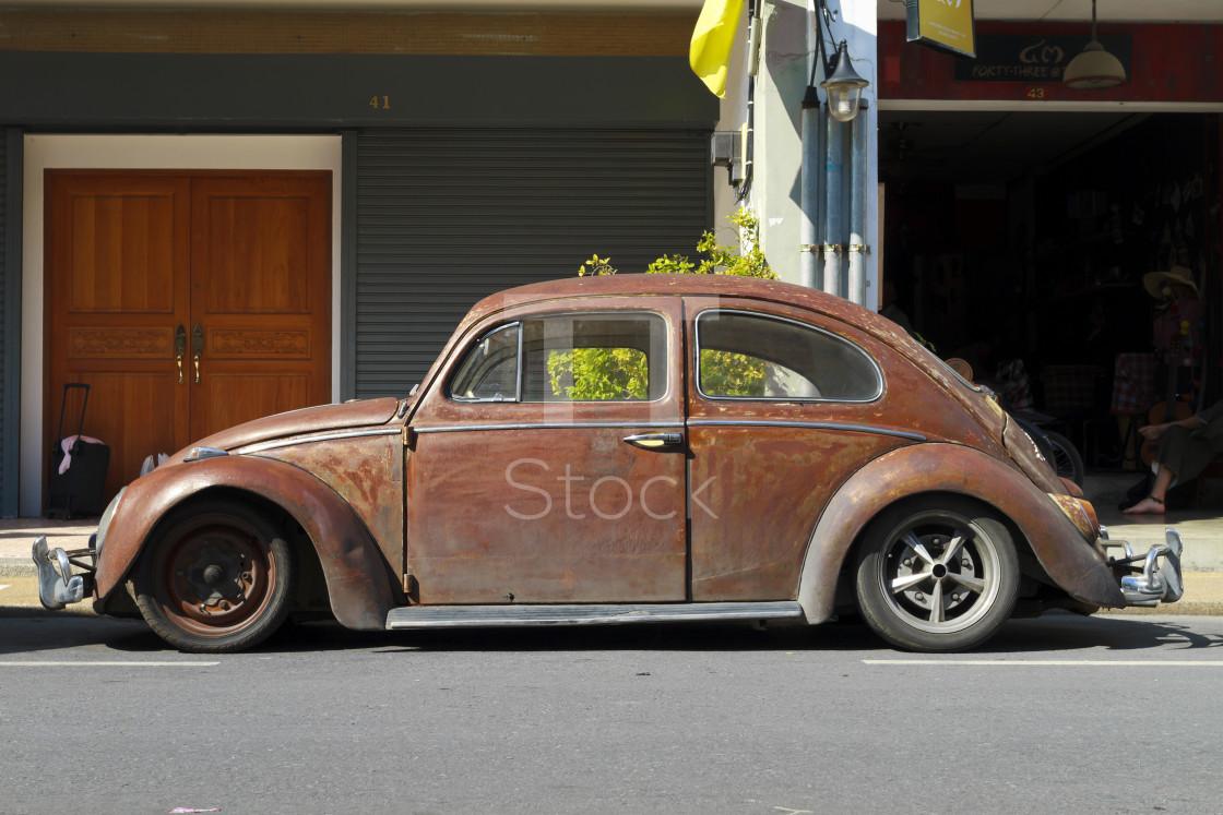 """Rusty brown customized VW Beetle"" stock image"