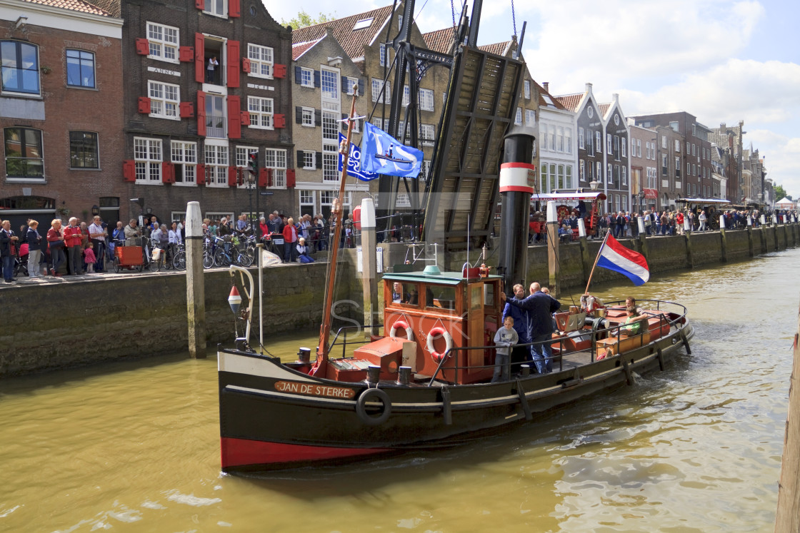 """Jan de Sterke leaving harbor"" stock image"