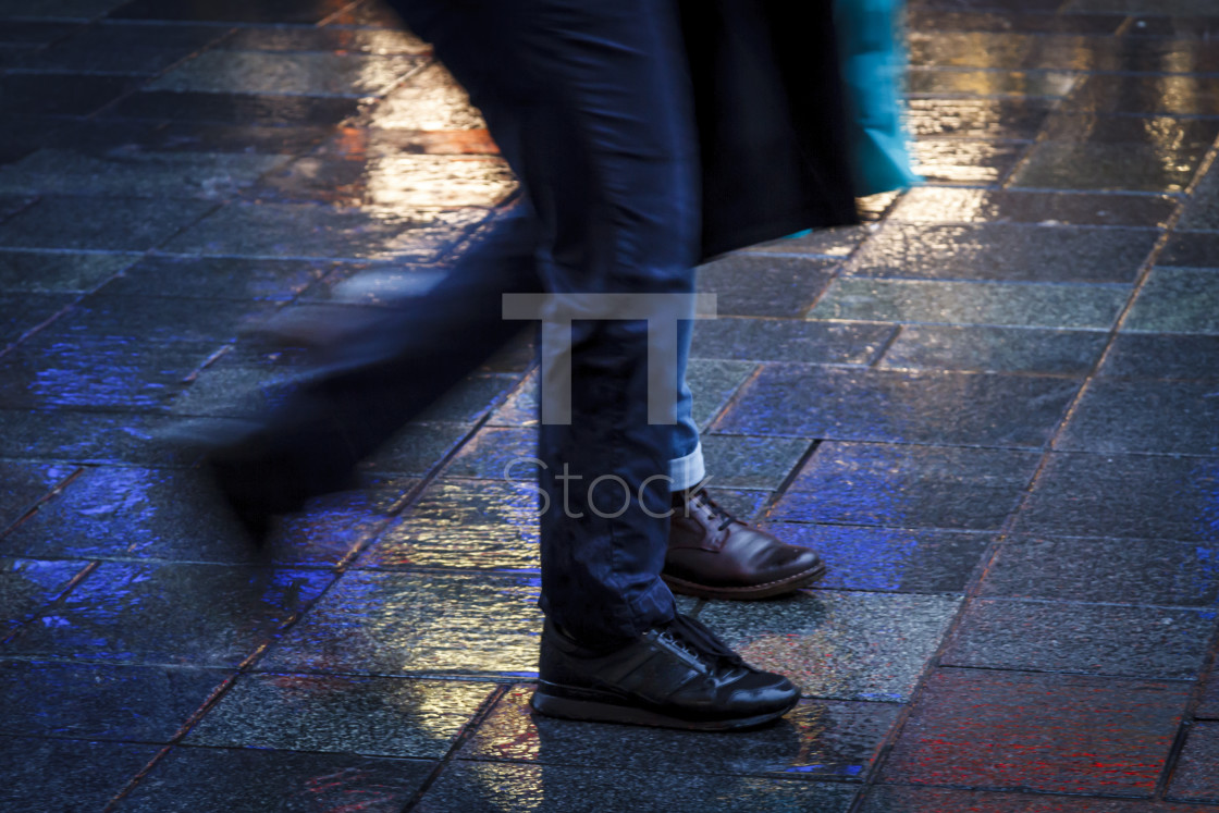 """Walking together in neon"" stock image"