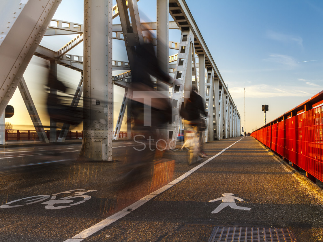 """Crossing the bridge"" stock image"