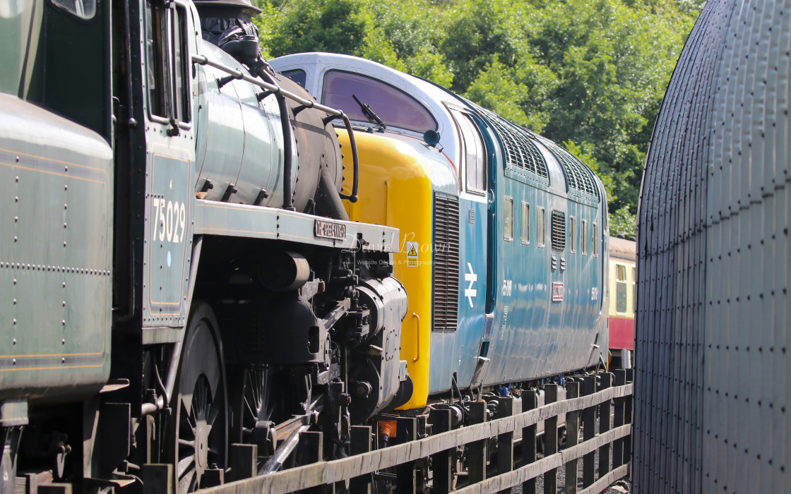 """Deltic 55022 at Grosmont"" stock image"