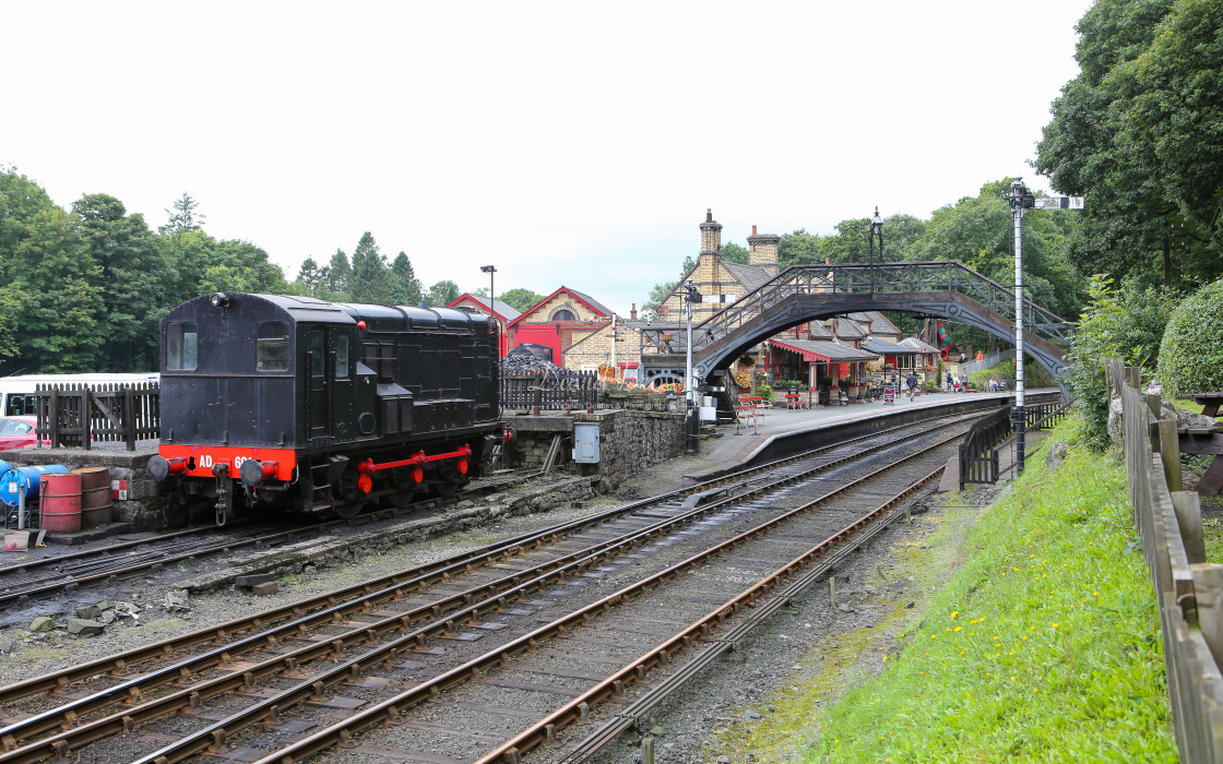 """7129 Class 11 shunter at Haverthwaite"" stock image"