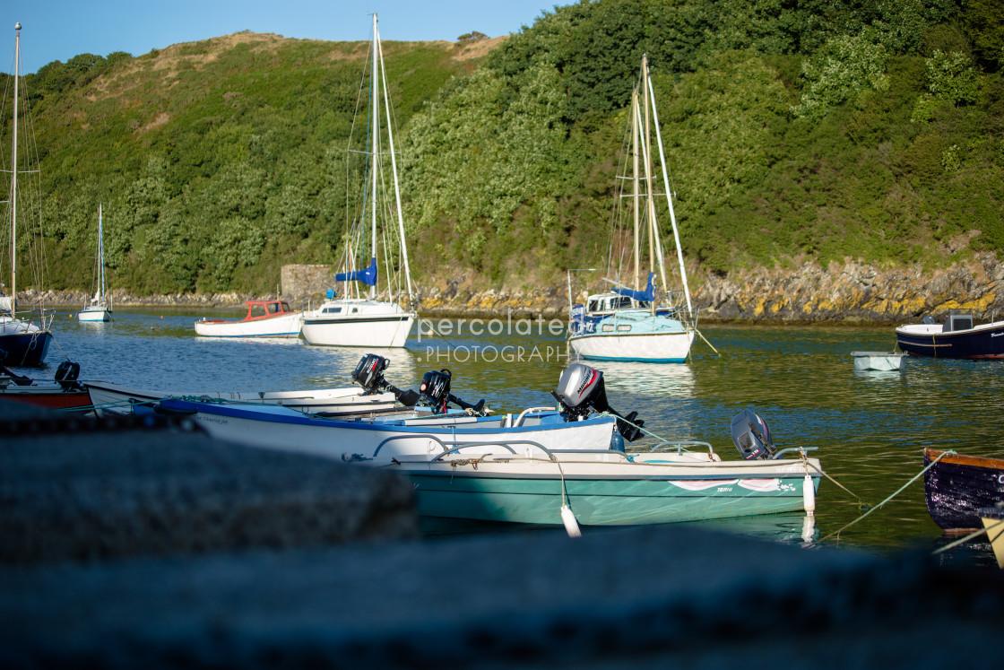 """High tide in Solva Harbour"" stock image"