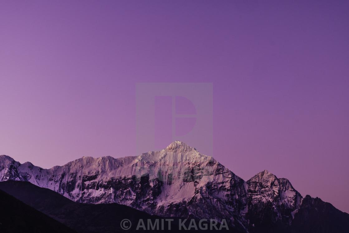 """Sunrise in Snow peak Mountain, Nepal"" stock image"