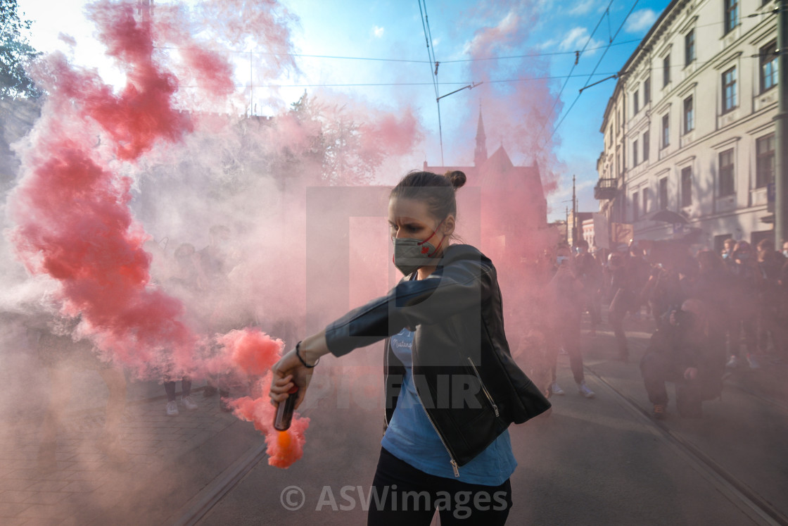 """""""Protests in Poland Over Abortion Law - Day Seven"""" stock image"""