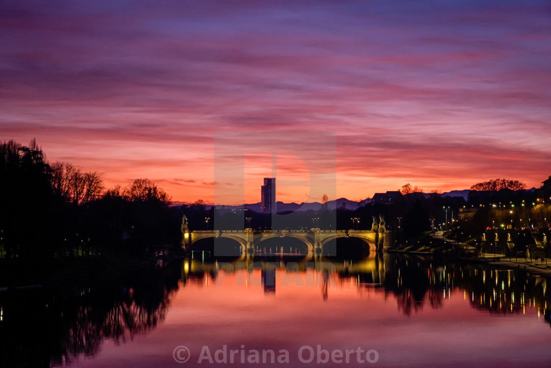 """""""Purple Sunset - Turin. Italy"""" stock image"""