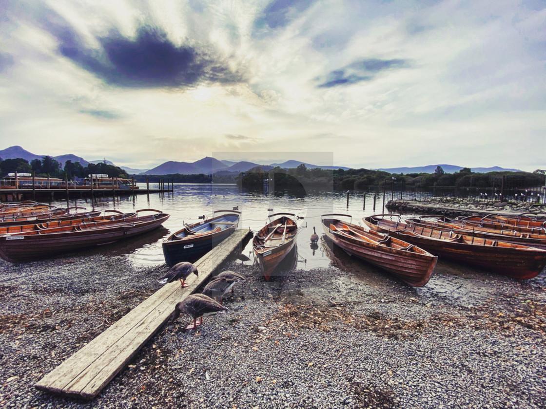"""Boats on Derwentwater Lake"" stock image"