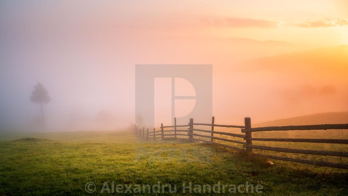 """Minimal rural sunrise"" stock image"