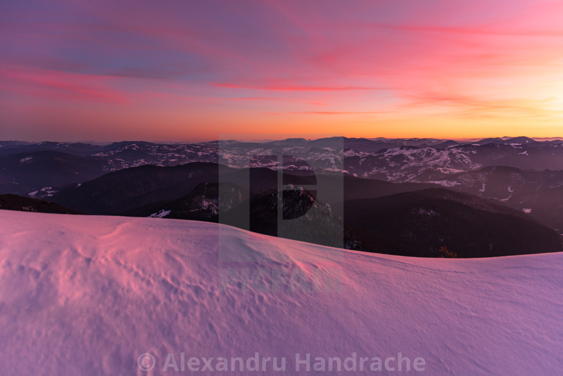 """""""Colorful winter sunset"""" stock image"""