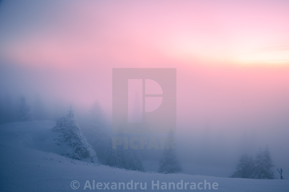 """Minimalist winter sunrise"" stock image"