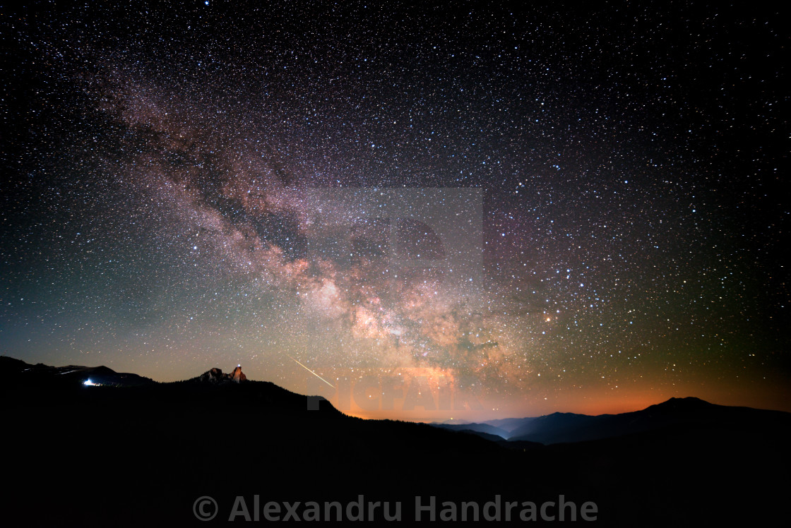 """""""Milky way wide shot over a mountain range"""" stock image"""