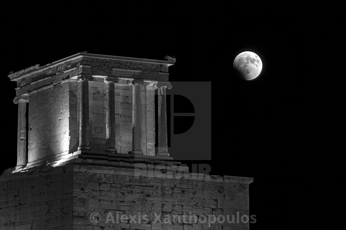 """""""Lunar Eclipse at the Parthenon"""" stock image"""