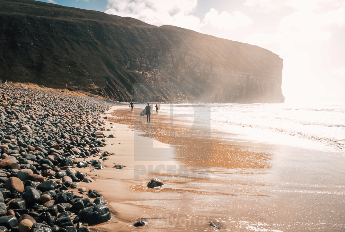 """Surfers at Rackwick Beach"" stock image"