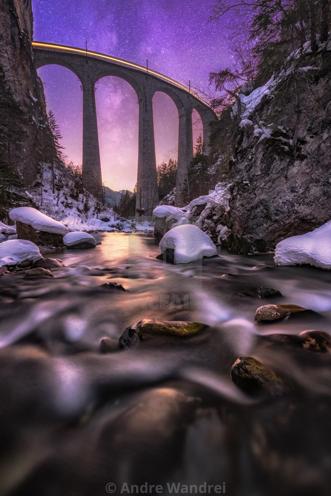 """Stars above the Landwasser viaduct"" stock image"