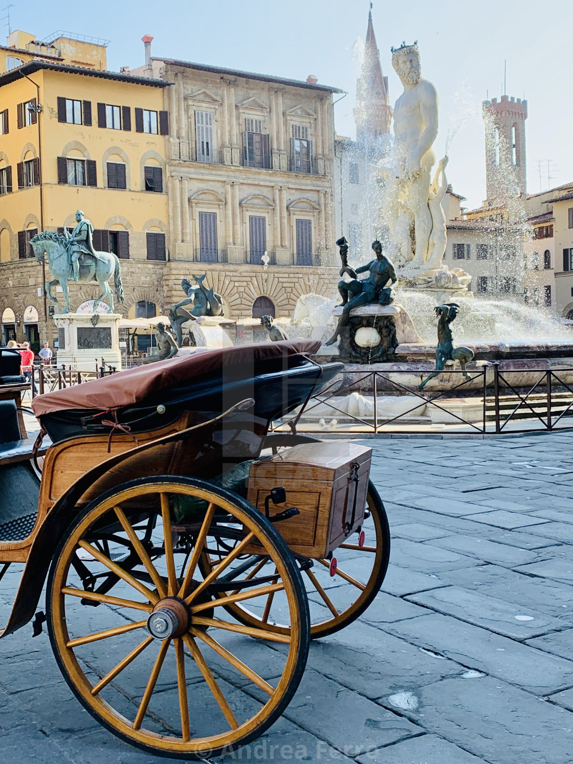 """Fountain of Neptune, Florence, Italy"" stock image"