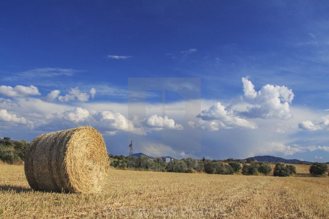 """Hay Bales With Blue Sky And Fluffy Cloud"" stock image"