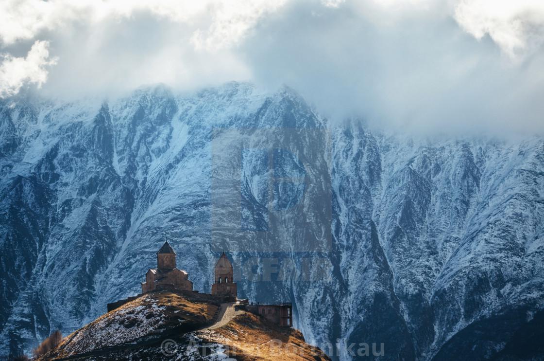 """""""Caucasus mountains, Gergeti Trinity church, Georgia"""" stock image"""