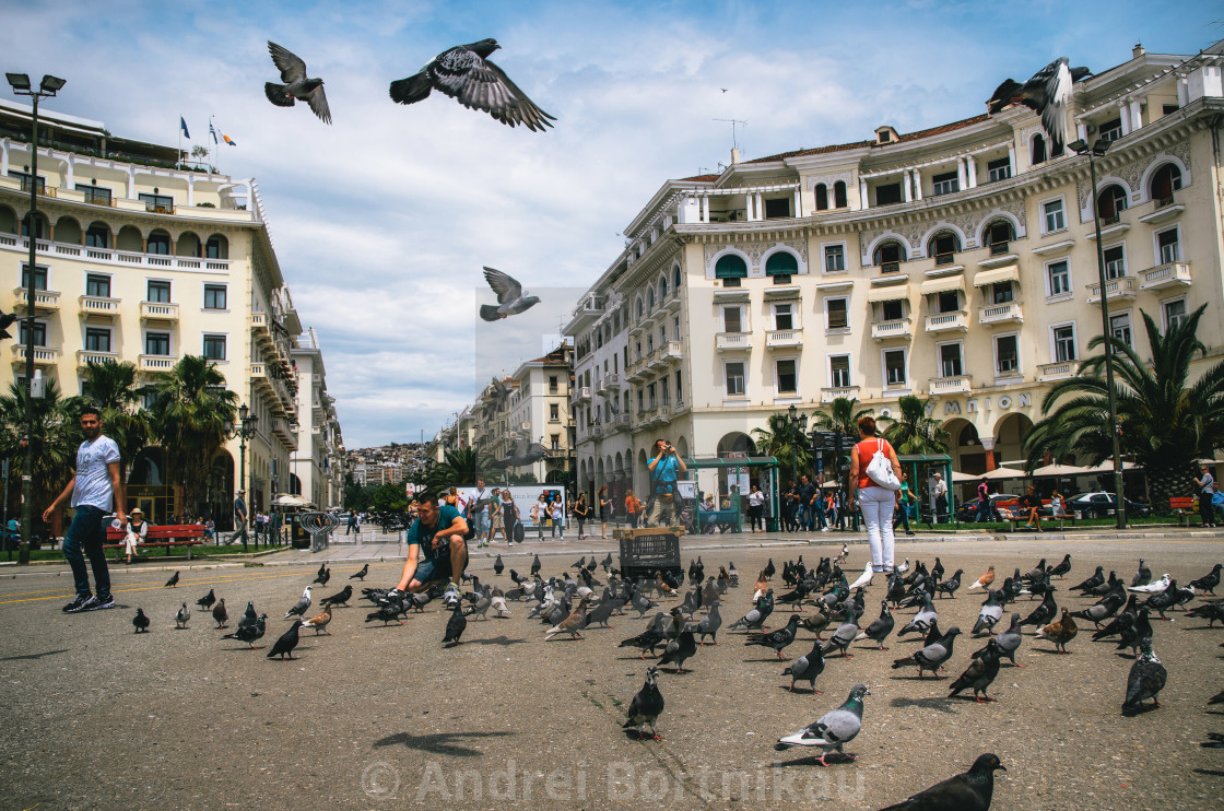 """People at famous Aristotelous Square"" stock image"