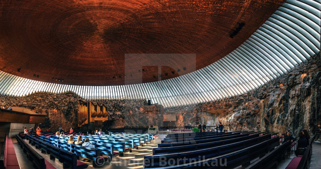 """""""Interior of the Rock Church in Helsinki , Finland."""" stock image"""