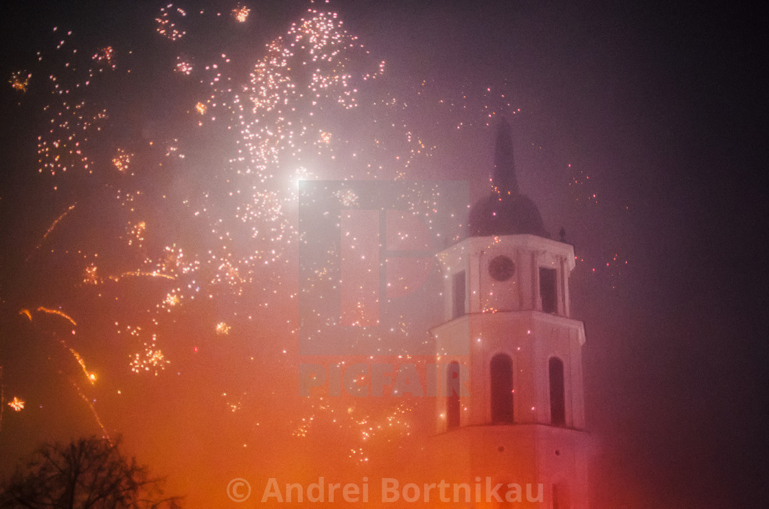 """""""New Year Celebration and Christmas in Vilnius with fireworks"""" stock image"""