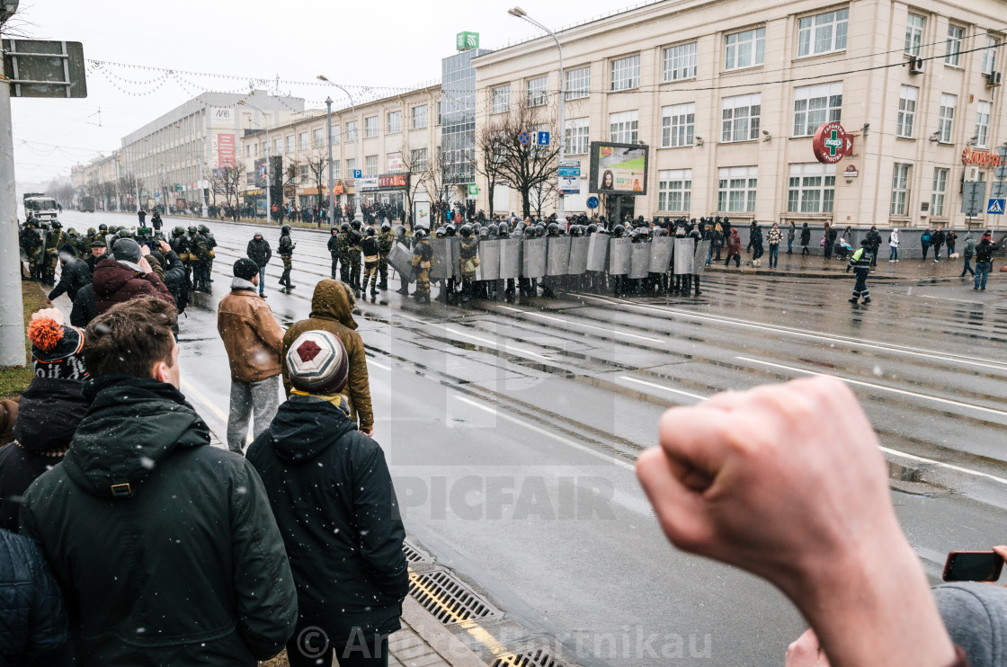 """""""Belarusian people participate in the protest against the decree 3 in Minsk"""" stock image"""