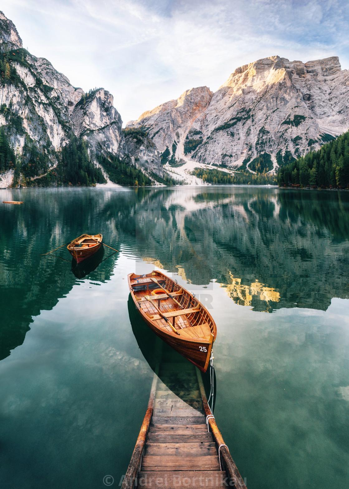"""Braies lake in Dolomites, Italy"" stock image"