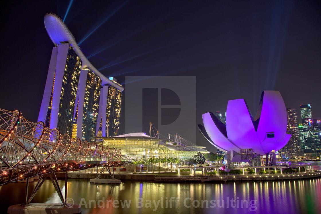 """Singapore Marina Bay at night"" stock image"