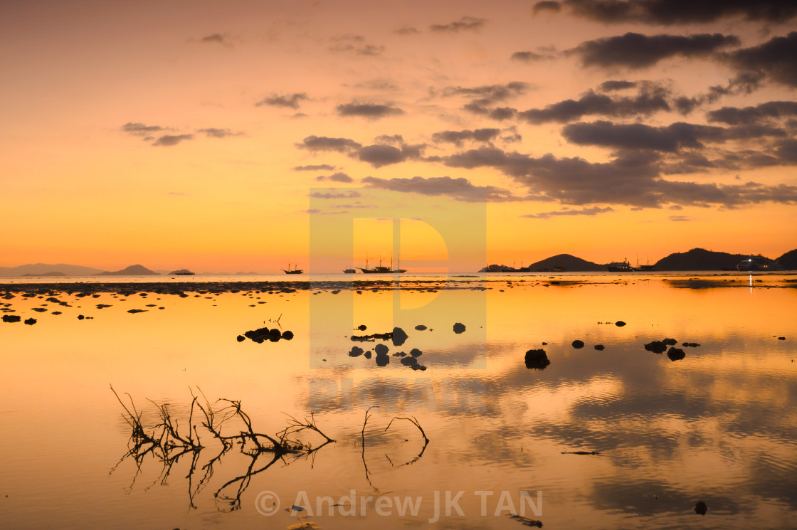 """Sunset at Pantai Pede 02"" stock image"