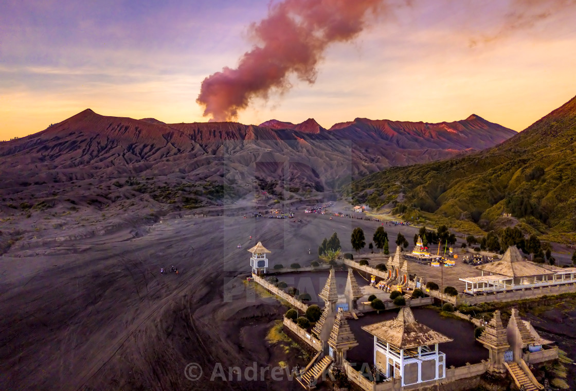 """""""Mount Bromo and the Temple"""" stock image"""