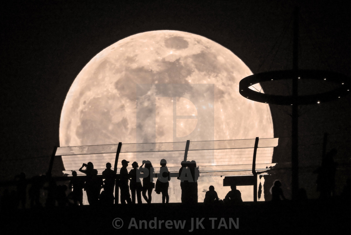 """Full Moon behind Skypark 01"" stock image"