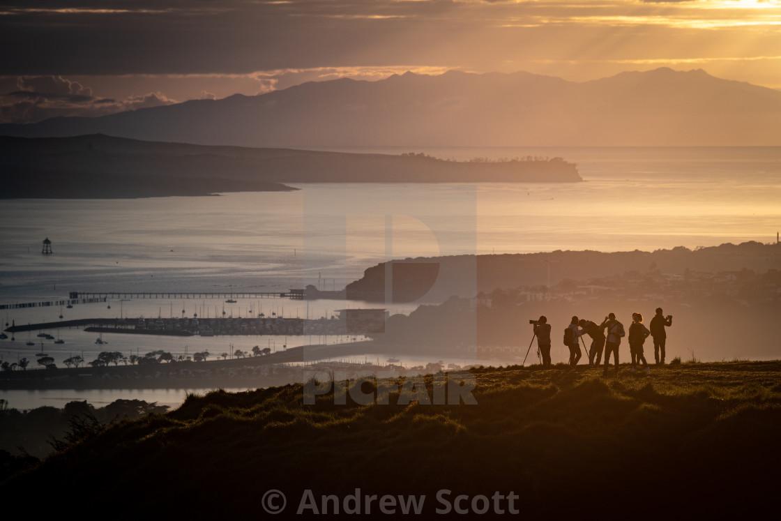 """""""Photographers at Sunrise"""" stock image"""