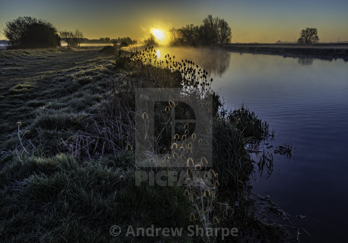 """""""Dawn over the River Great Ouse, Ely, 10th April 2016"""" stock image"""