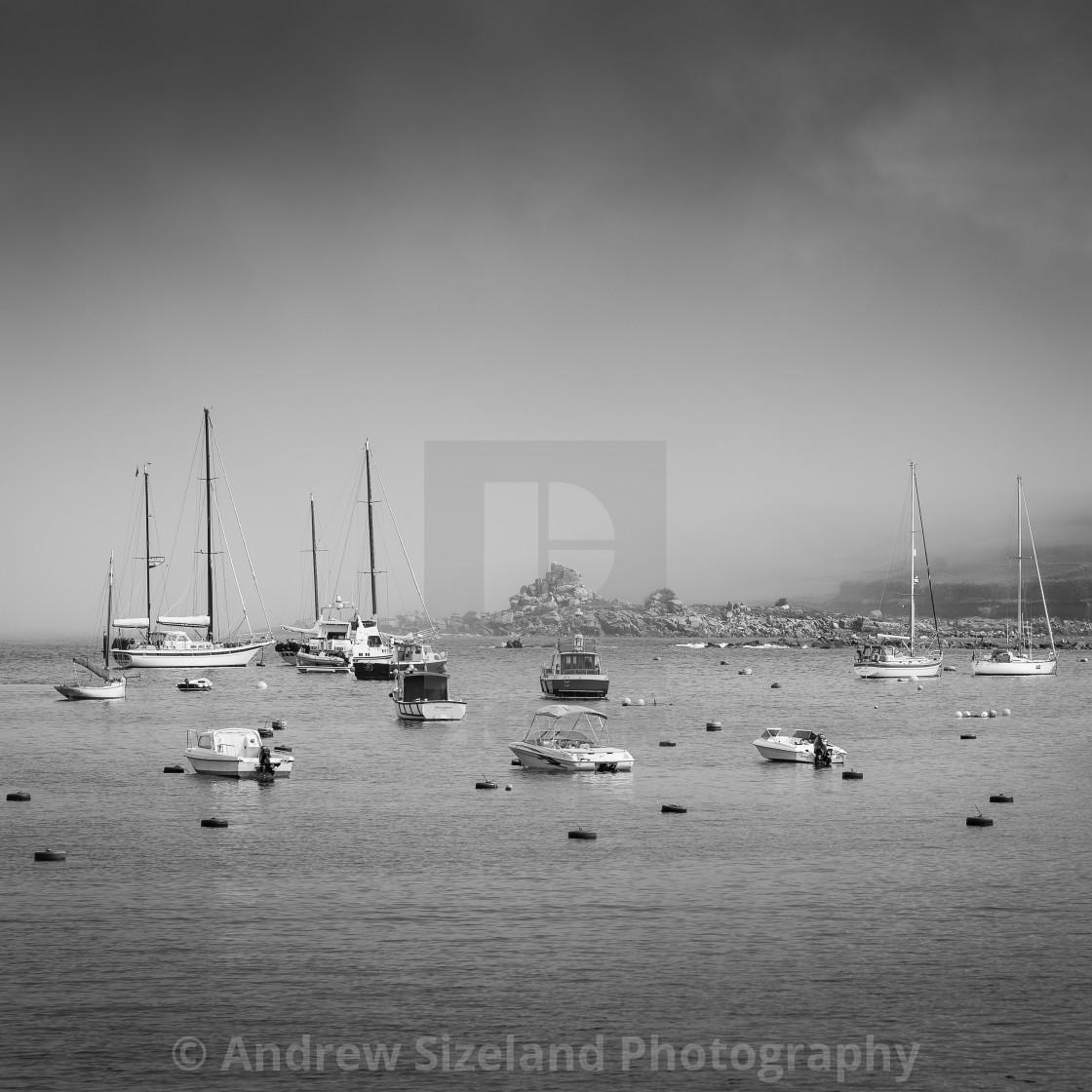 """Foggy Morning - St Marys Harbour"" stock image"