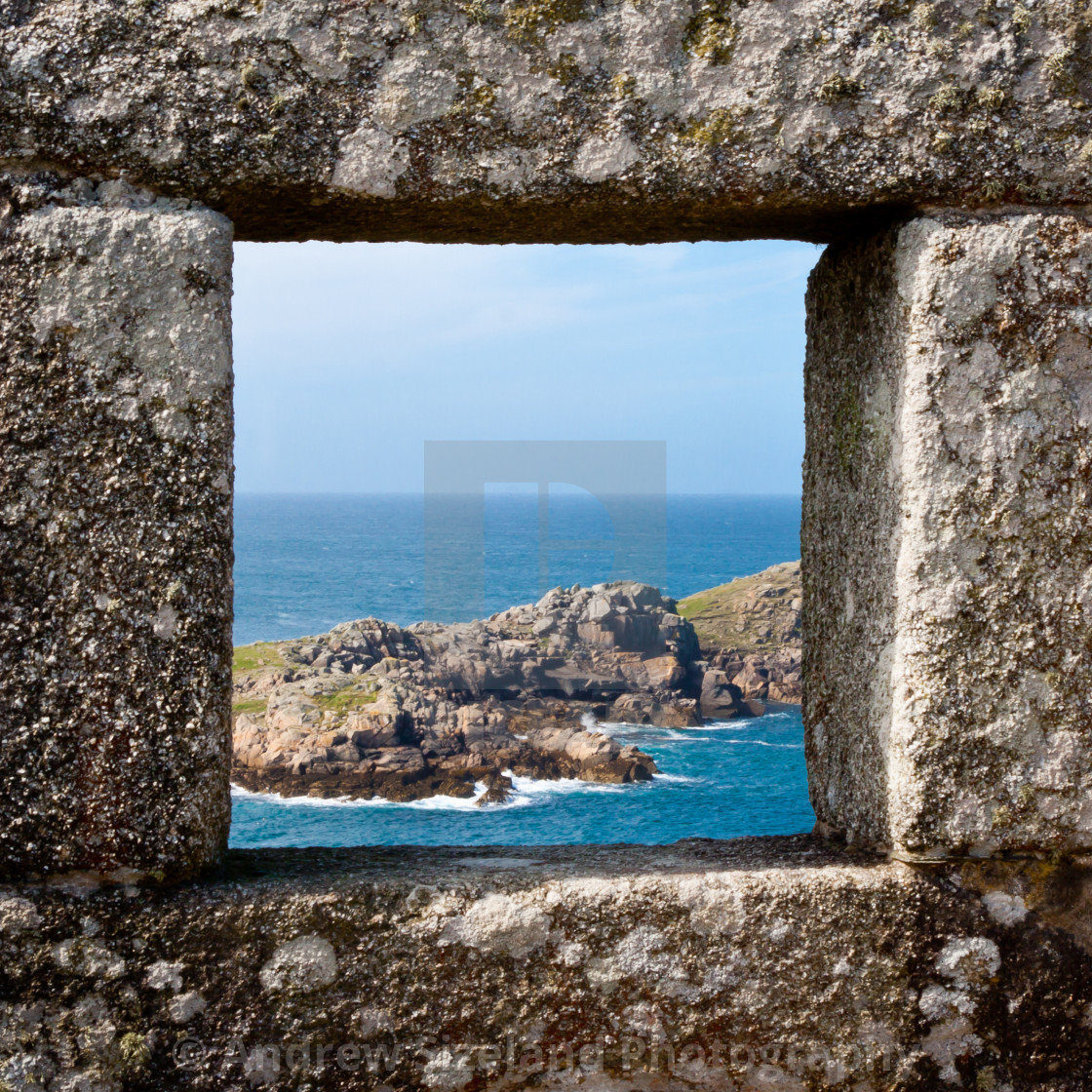 """""""View from King Charles Castle on Tresco"""" stock image"""