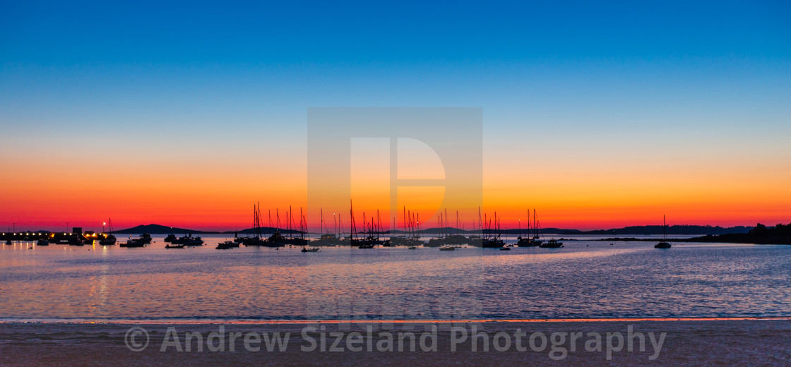 """""""Sunset Over the Harbour - Red Sky At Night"""" stock image"""