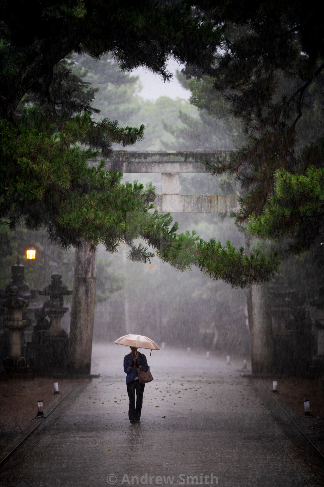 """Rainy Evening at the Shrine"" stock image"