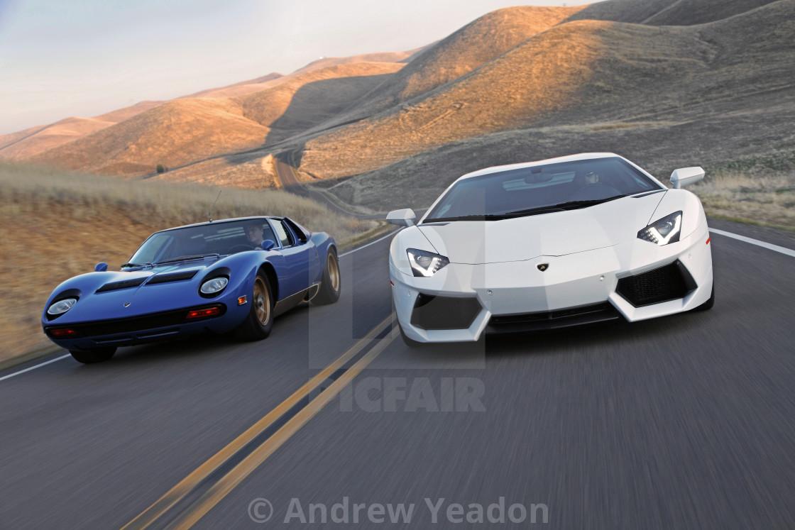 """Lamborghini V-12's Old and New"" stock image"