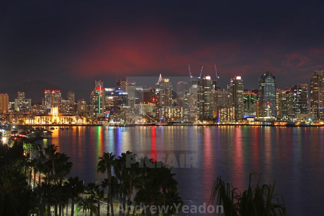 """San Diego, California, USA. Night Time City View Across The Harb"" stock image"