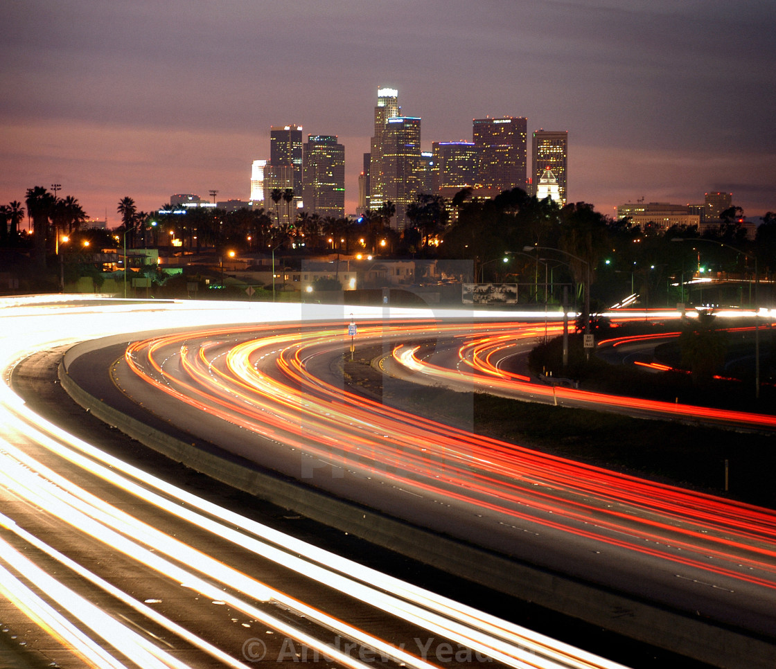 """Driving In To Los Angeles At Night"" stock image"