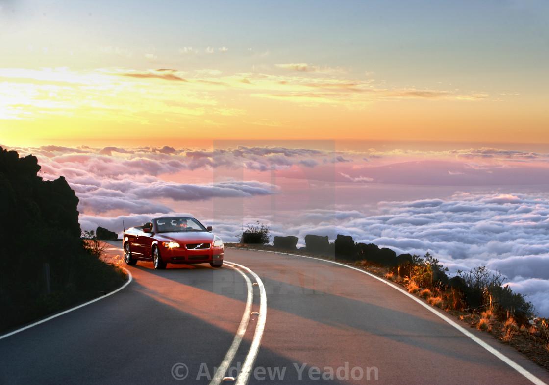 """Driving up the Haleakala Volcano, Maui, Hawaii"" stock image"